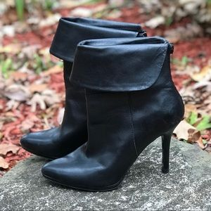 RALPH LAUREN BLACK LEATHER ANKLE BOOTIES BOOTS 7.5